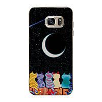 Чехол бампер силиконовый для Samsung Galaxy S7 G930F с картинкой коты смотрят на луну, фото 1