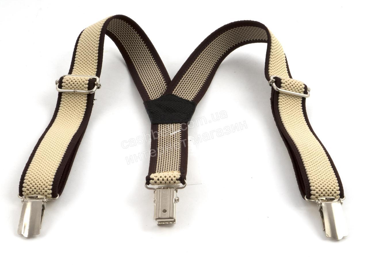 Дитячі підтяжки-гумка бежеві з коричневими смужками (100419)