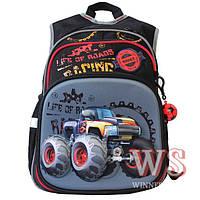 """Черный рюкзак для школьника младших классов """"hot wheels"""", ортопедическая спинка"""