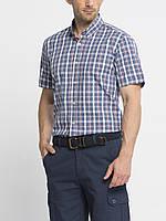 Мужская рубашка LC Waikiki с коротким рукавом синего цвета в бело-красные полоски