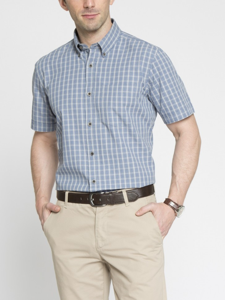 5624f5e6cf6e90d Мужская рубашка LC Waikiki с коротким рукавом голубого цвета в синюю клетку  - Интернет-магазин