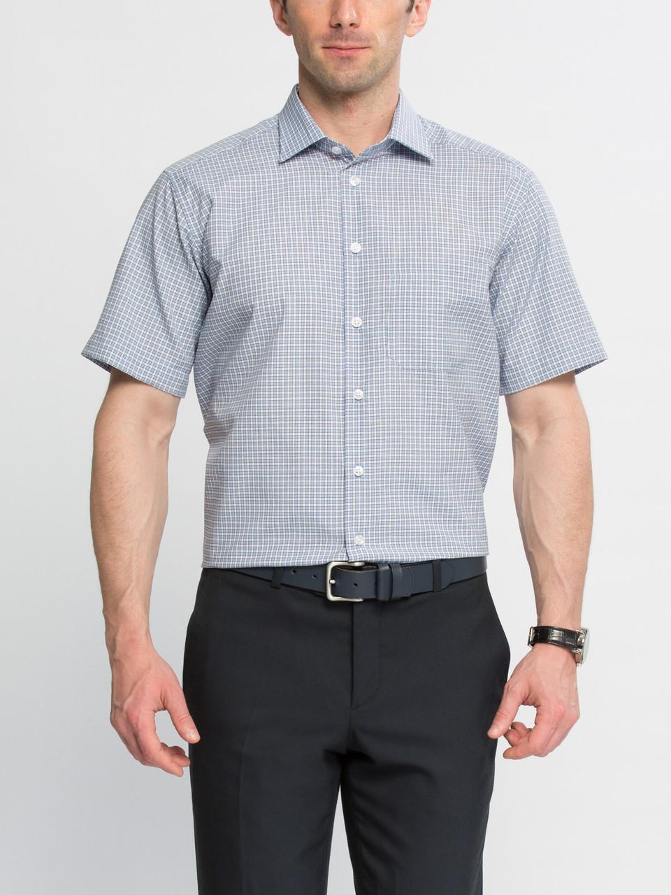 Мужская рубашка LC Waikiki с коротким рукавом белого цвета в голубую клетку