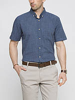 Мужская рубашка LC Waikiki с коротким рукавом синего цвета