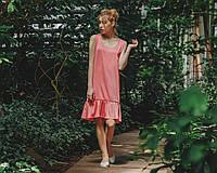 Платье с оборкой кораллового цвета