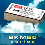 SKM50 – новая серия компактных 50W DC-DC преобразователей от Mean Well