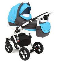 Детская универсальная коляска 2 в 1 ADAMEX Avila (Белый-голубой-графит 11P)