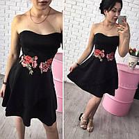 Женское красивое платье с вышивкой без бретелей