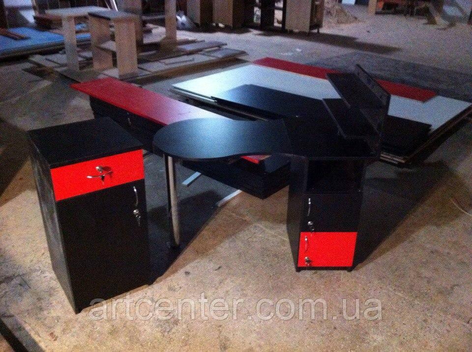 Маникюрный стол  с полочками черный, складная столешница