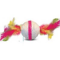 Когтеточка шарик белый с перьями 4,5 см (9-24)