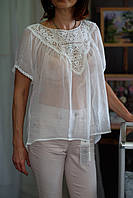 Блуза кофта с кружевом, размер 44 (украинский-50-52)