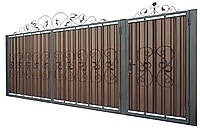 Кованые ворота и калитка В-04 с ПРОФНАСТИЛОМ