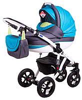 Детская универсальная коляска 2 в 1 ADAMEX Avila (Графит-синий-салатовый 29P)