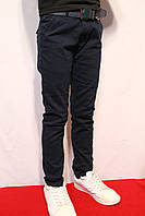 Cтрейчевые котоновые брюки темно-синего цвета, для мальчиков на 5-6 лет (Осень-2017г.) Польша.