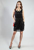 Платье черное гипюровое летнее с карманами