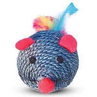 Когтеточка шарик красный мишка с перьями 7см (9-22)