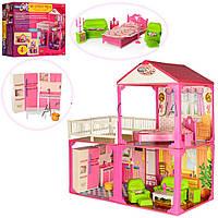 Дoмик для кукoл барби My Lovely Villa 6982B: 2 этажа + 3 комнаты + мебель