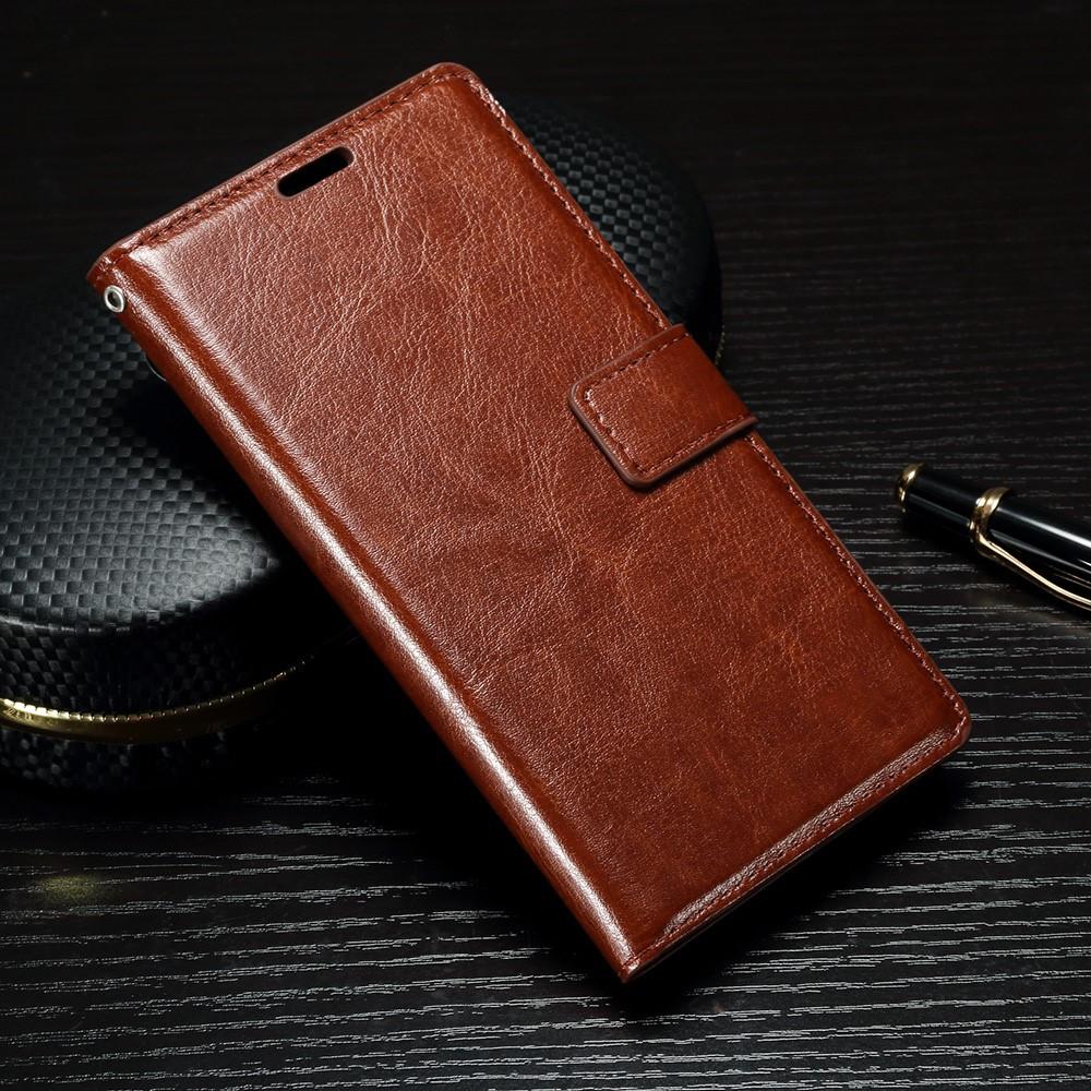 Чехол книжка для Sony Xperia XA1 G3112 боковой с отсеком для визиток, Гладкая кожа, коричневый