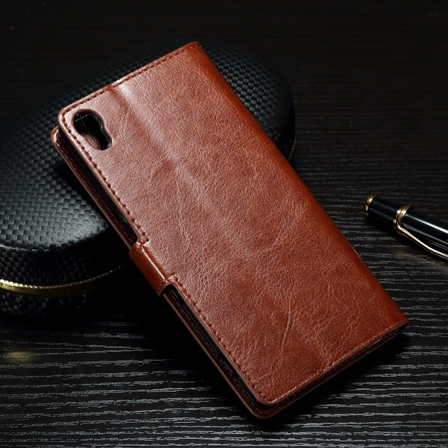 чехол книжка Sony Xperia XA1 коричневая гладкая кожа