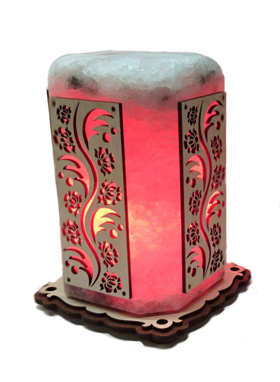 Соляной светильник Восьмиугольник с узором