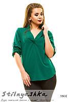 Женская блузка большого размера темно-зеленый