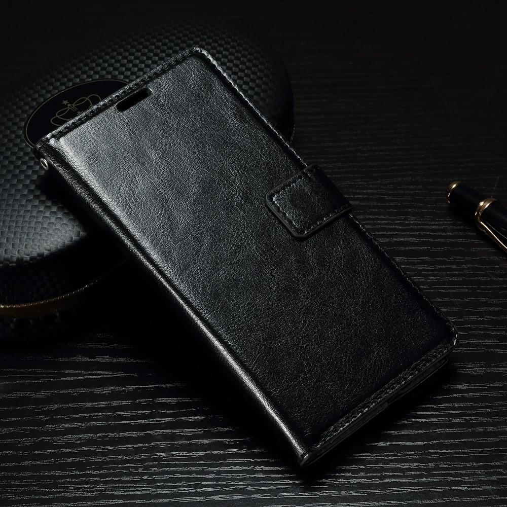 Чехол книжка для Sony Xperia XA1 G3112 боковой с отсеком для визиток, Гладкая кожа, черный