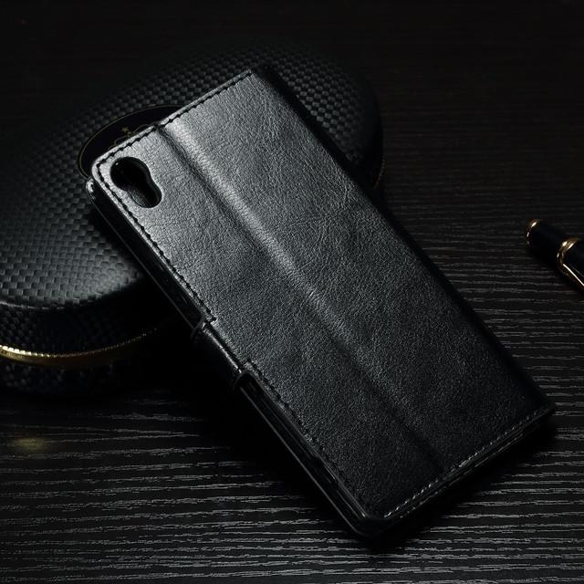 чехол книжка Sony Xperia XA1 черная гладкая кожа