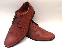 Мужские туфли-оксфорды классические кожаные коричневые Uk0451