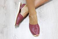 Босоножки кожаные  цвет : бордо материал: кожа