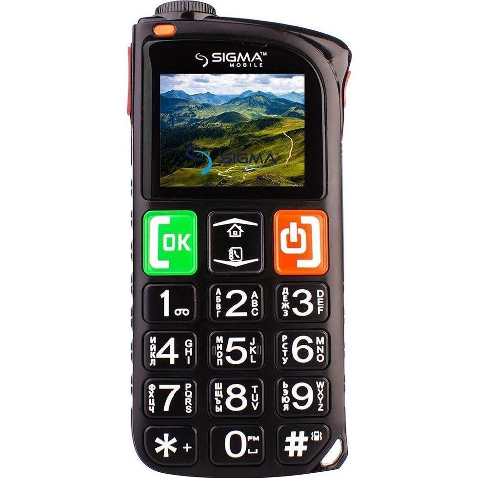 Телефон кнопочный бабушкофон с мощным фонариком с базой для зарядки Sigma Comfort 50 Light чёрный