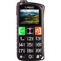 Телефон кнопочный бабушкофон с мощным фонариком Sigma Comfort 50 Light чёрный