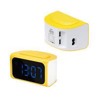 Часы-будильник и зарядное устройство с 4 USB портами Remax желтые