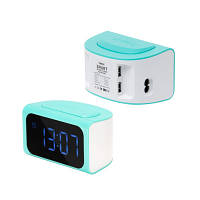 Часы-будильник и зарядное устройство с 4 USB портами Remax голубые