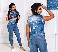 ДТ4656 Жилетка джинсовая размеры 46-48