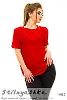 Шифоновая блузка большого размера красный