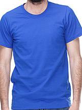 Футболка мужская, синяя, круглая горловина, фото 3