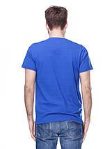 Футболка мужская, синяя, круглая горловина, фото 2