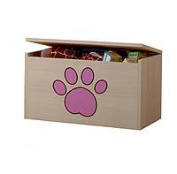 Ящик для игрушек гравированная розовая лапка щенка Baby Boo 100092