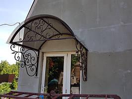 Козырек над дверью с ковкой изготовление и установка.