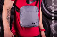 Барсетка мужская, сумка через плечо, серый, 2 вида