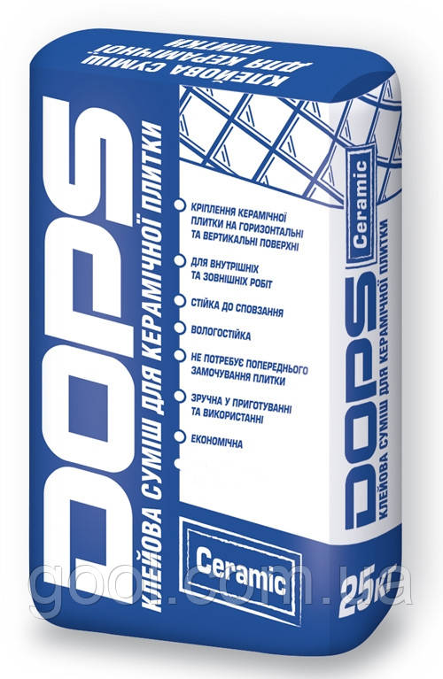 Клей для керамической плитки DOPS Ceramic в мешках по 25 кг