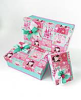 Прямоугольный подарочный комплект коробок ручной работы с принтом из кексов замков и принцессы