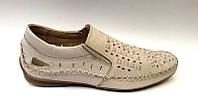 Мужские туфли летние кожаные цвет: бежевый, коричневый Uk0449