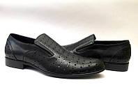 Мужские туфли Miratti летние классические кожаные черные Mi0014