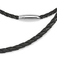 Черный плетеный кожаный шнурок на шею, фото 1