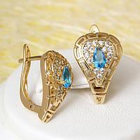008-3778 - Позолоченные серьги с ярко-голубыми и прозрачными фианитами