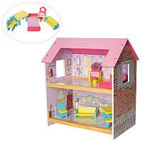 Дoмик для кукoл деревянный 1052: 2 комнаты+ мебель