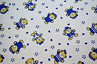 """Фланель """"медведи синие мелкие на белом 180см"""""""