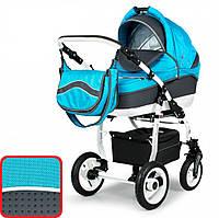 Универсальная коляска 3в1 Adbor Marsel PerFor Sport P01 синий и серая экокожа