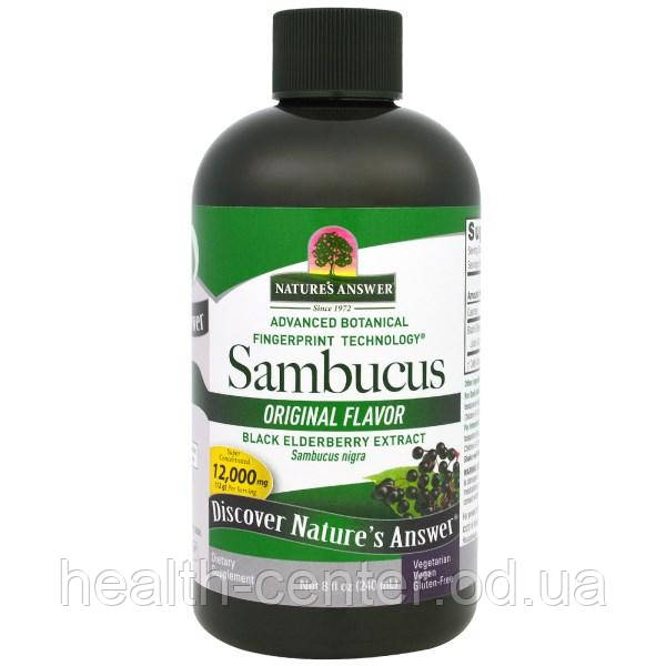 Бузина (Экстракт черной бузины) 2500 мг 240 мл  от кашля, лечение бронхита  гриппа простуды Nature's Answer