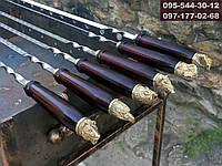 Шампуры подарочные с деревянной ручкой и навершием в виде головы зверей, фото 1